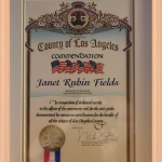 County of Los Angeles Commendation to Janet Rubin Fields